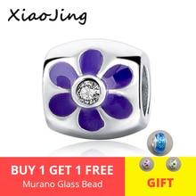 Fit authentic pandora charm Bracelets 925 Sterling Silver flower Beads with purple enamel diy fashion Jewelry making women Gift