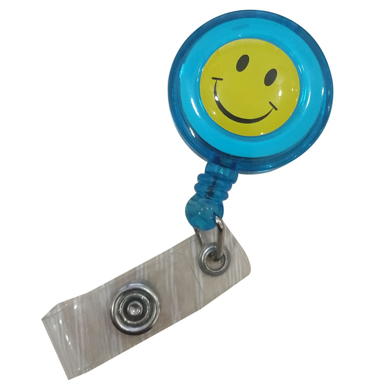 Купить с кэшбэком Fashion 20 Pieces Retractable Reel Lanyard Smiling Face Card Badge Holder School Office Supplies Metal Clip Easy to Use