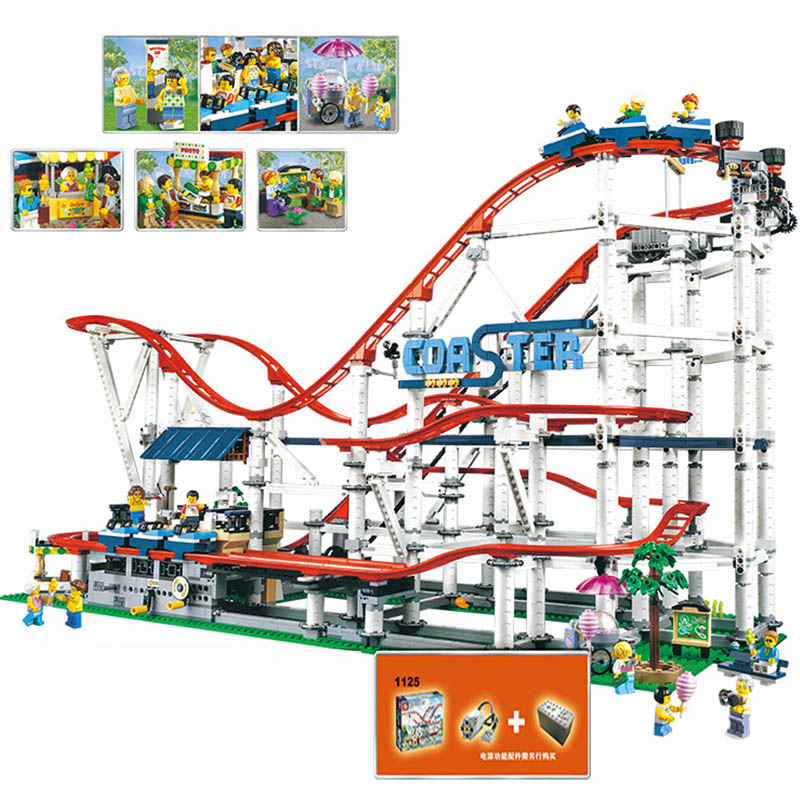 In Stock Creator Expert Roller Coaster Technic Set Buidling Blocks Bricks Compatible Legoinglys 10261 15039 Christmas Gift Toy