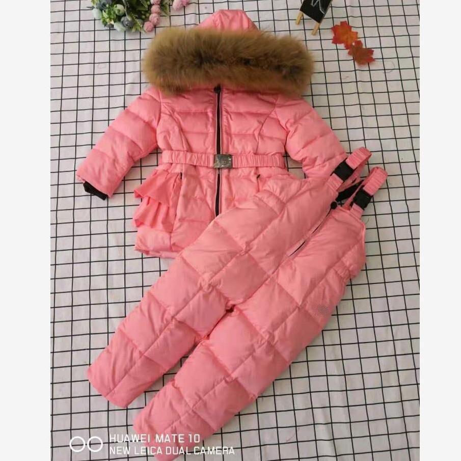 En gros hiver nouveau à capuche plus épais chaud filles doudoune enfants neige porter manteau réel col de fourrure Parka Modis doudoune Y1757