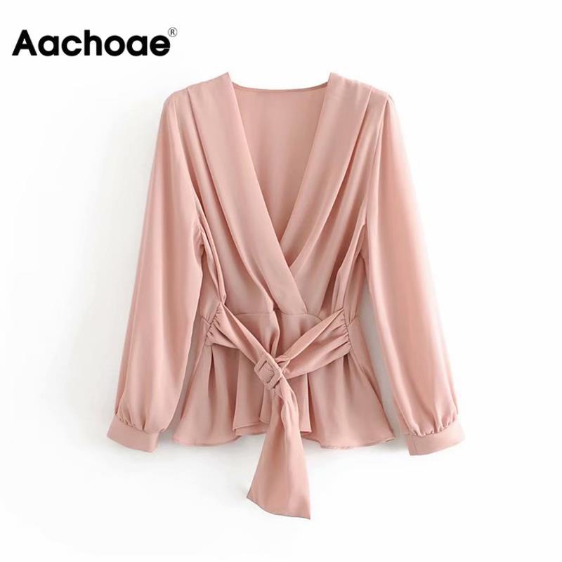 Solid V Neck Women Blouse Stylish Ladies Shirt With Belt Elegant Pleated Tunic Tops Sweet Sashes Elastic Waist Office Shirt