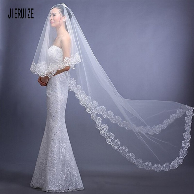 JIERUIZE White Lace Edge Bridal Veils Cathedral Length Wedding Veil  One Layer Long Velos De Novia