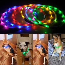 Ошейник для домашних собак и кошек с защитой от потери, заряжаемый от USB, светящийся мигающий светодиодный светильник
