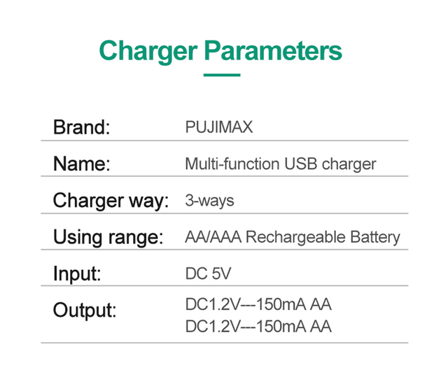 PUJIMAX 3 Solts Battery Charger Adapter USB Plug Battery Charger For Universal AA/AAA rechargeable Batteries  Power Accessories 6