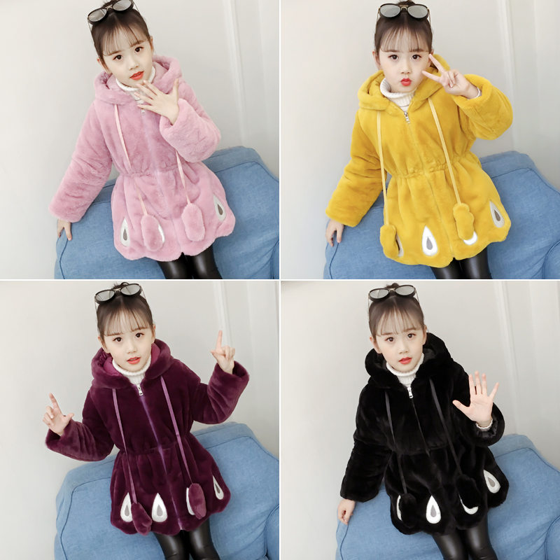 Wool Coat for Girls Hooded Casual Winter Thickened Warm Kids Jackets 11-4Years Princess Blend Overcoat