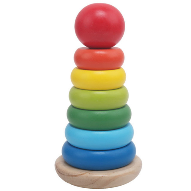 Warm Color Rainbow Stacking Ring Tower Stacking Blocks Wooden Toddler Toy Baby Toys Infant Toys Girl