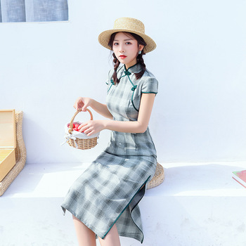 Spring Summer New Lady Cotton And Linen Cheongsam Dress Improved Version Check Waist Slimming Girls Classic Modern Qipao Платье