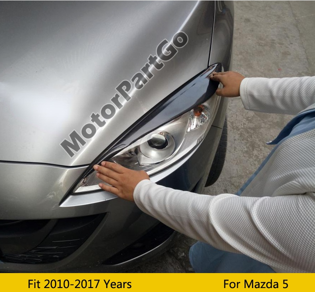 Real Crabon Fiber Head light Eyelid Eyebrow Cover Trim 1pair for Mazda 5 2010 - 2017  T205 5
