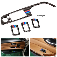 Wooeight 4Pcs LHD Car Interior Carbon Fiber Door Window Switch Panel Cover Trim Sticker Fit For BMW 3 Series 2005-2010 2011 2012 jeazea 4pcs carbon fiber door window switch panel frame cover trim fit for bmw 3 series 2005 2006 2007 2008 2009 2010 2011 2012