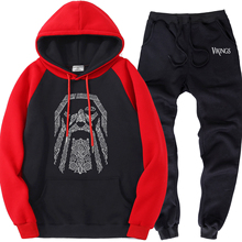 Mens Raglan Set Fleece Odin Vikings Brand Clothes Warm Hoodie Sports Pants Men Sweatsuits Casual Street Tracksuit Two Piece Sets