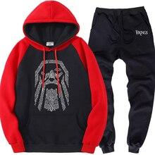 メンズラグランセットフリースオーディン · バイキングスブランド服暖かいパーカースポーツパンツ男性sweatsuitsカジュアルストリートトラックスーツ 2 枚組