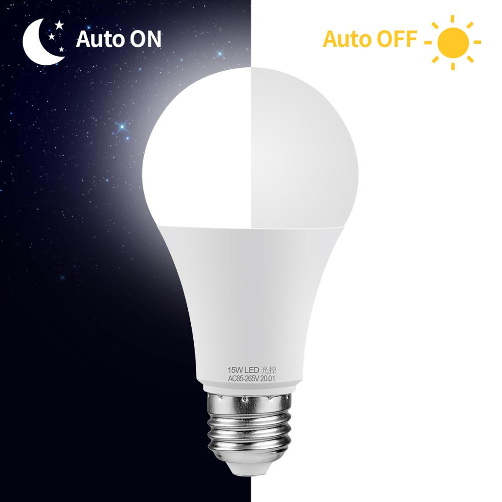 Лампочка со светодиодным датчиком Светодиодная лампа 10 Вт 15 Вт От заката до рассвета, датчик, светильник, дневной и ночной светильник, Автоматическое включение/выключение для дома, парковочный светильник, ing AC85-265V