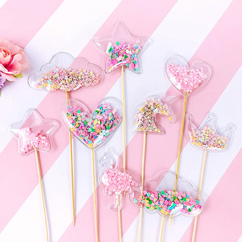 Pink Unicorn Theme Party Cake Deco PVC Cake Topper Crown Shiny Cupcake Toppers Wedding Birthday Party Baby Shower Favor Ornament unicorn cake cupcake wrappers cake toppers baby shower kids unicornio birthday party decorative supplies unicorn party 12pcs