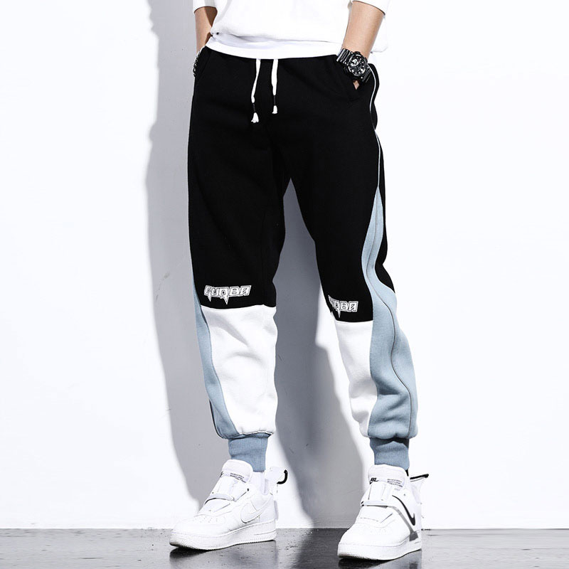 Fashion Streetwear Men Casual Joggers Pants Black White Spliced Designer Cargo Pants Men Slack Bottom Hip Hop Sweatpants Hombre