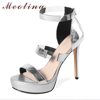 Meotina Platform Super High Heel Sandals Ankle Strap Real Leather Women Shoes Round Toe Zipper Fashion Sandals Summer Golden
