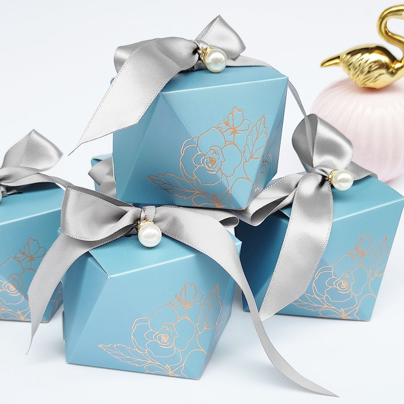 Gift Box Diamond Blue Paper Candy Box Wedding Favors for Guests Chocolate Packaging Box Baby Shower Birthday Party Decoration