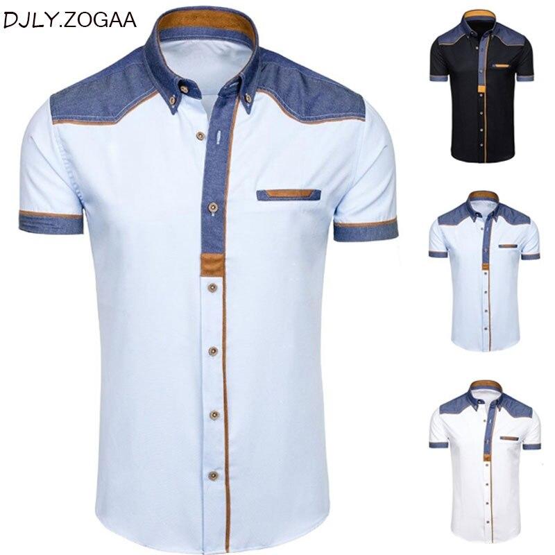 ZOGAA Men's Shirts Fashion Denim Short Sleeve Formal Shirts Man Casual Summer Clothing Tops Slim Cotton Plus Size Male Shirts
