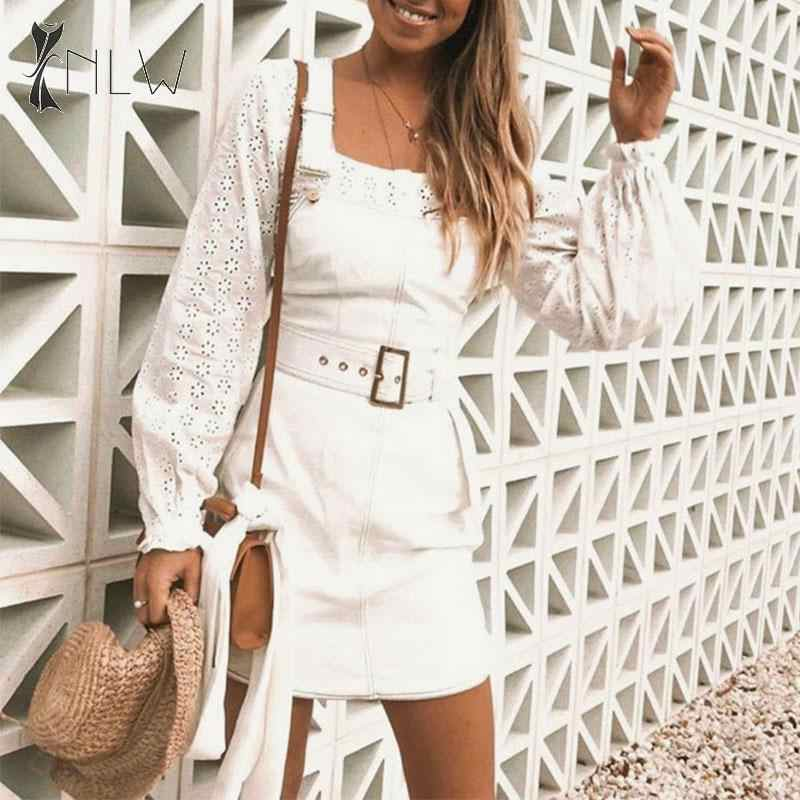 NLW blanc moulante Denim robe femmes 2019 automne hiver ceinture Spaghetti sangle Jeans robe élégante sans manches Mini robe Vestidos