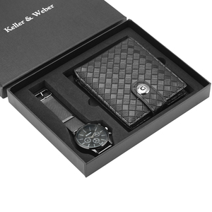 Image 4 - Unique Men Quartz Watch Genuine Leather Wallet Gift Set Practical Pin Buckle Watches Business Style Male Clock Top Gifts 2019