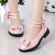 Kids Flats For Girls Princess Bow-knot Big Children Leather Shoes
