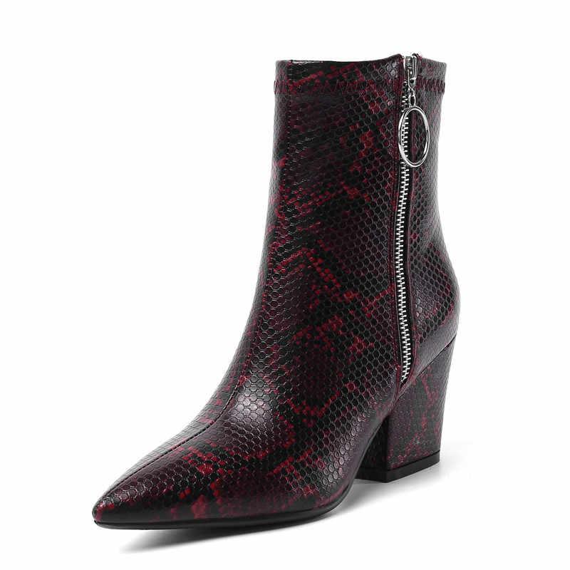 MORAZORA 2020 yeni varış kadın yarım çizmeler fermuar sivri burun sonbahar kış çizmeler yılan yüksek topuklu parti elbise ayakkabı kadın
