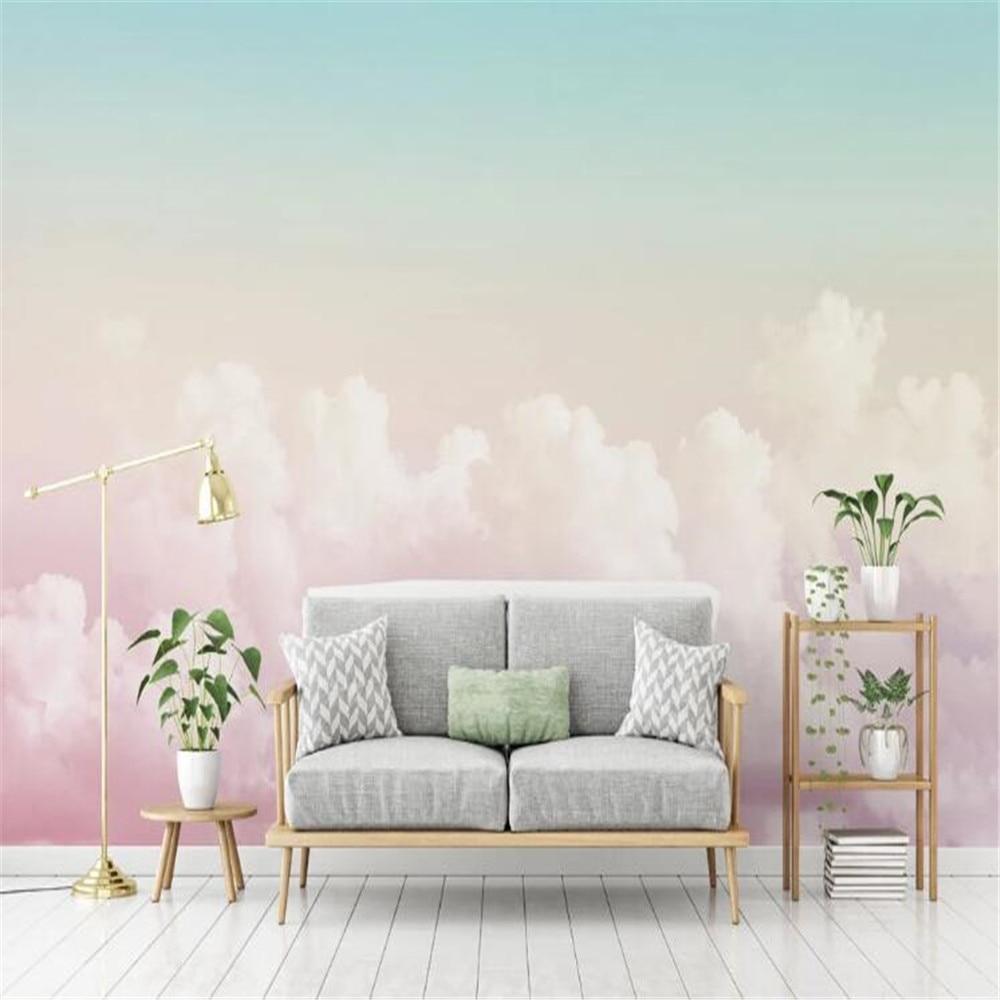 Milofi custom high-end 3d stereo mural pink sky clouds TV background wall paper