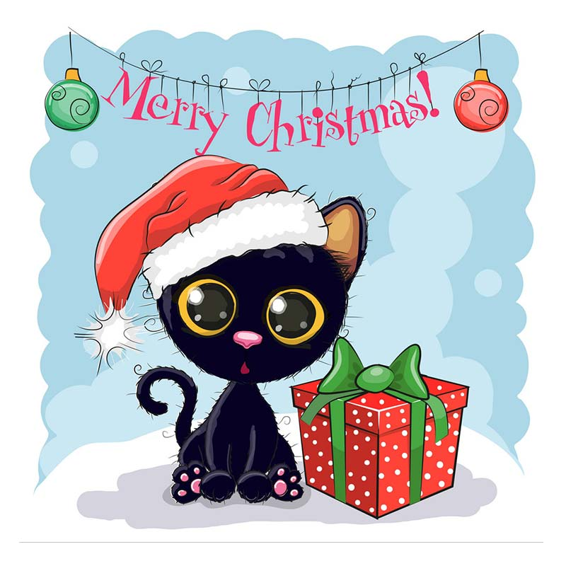 merry christmas dies cute cartoon black cat metal cutting dies Christmas font b pet b font