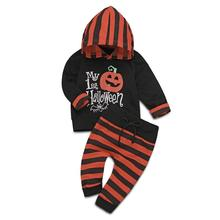 2019 New Arrival Newborn Infant Baby Boy Long Sleeve Halloween Pumpkin Hoodie Top Striped Pants Outfits