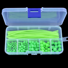 Luminous Fishing Beads Tube 170pcs/set Soft Rubber Floating Glow Fishing Beads Fishing Rig Tube Sleeve Accessories