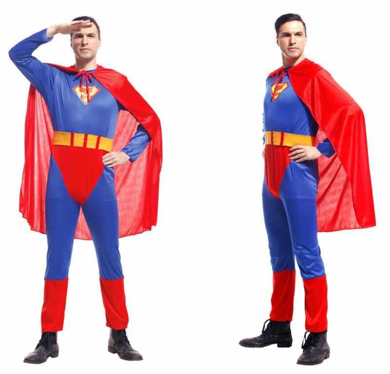 גיבור התפקיד משחק תלבושות ליל כל הקדושים סופרמן קוספליי מפלגה למבוגרים גברים עם קלארק קרנבל חג מולד תלבושת