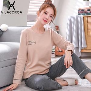 Image 4 - Autumn Winter Cotton Print Womens Pajamas Sleep Round Neck Long Sleeve Top Long Pant Pajamas Set Woman Sleepwear Pyjamas Women