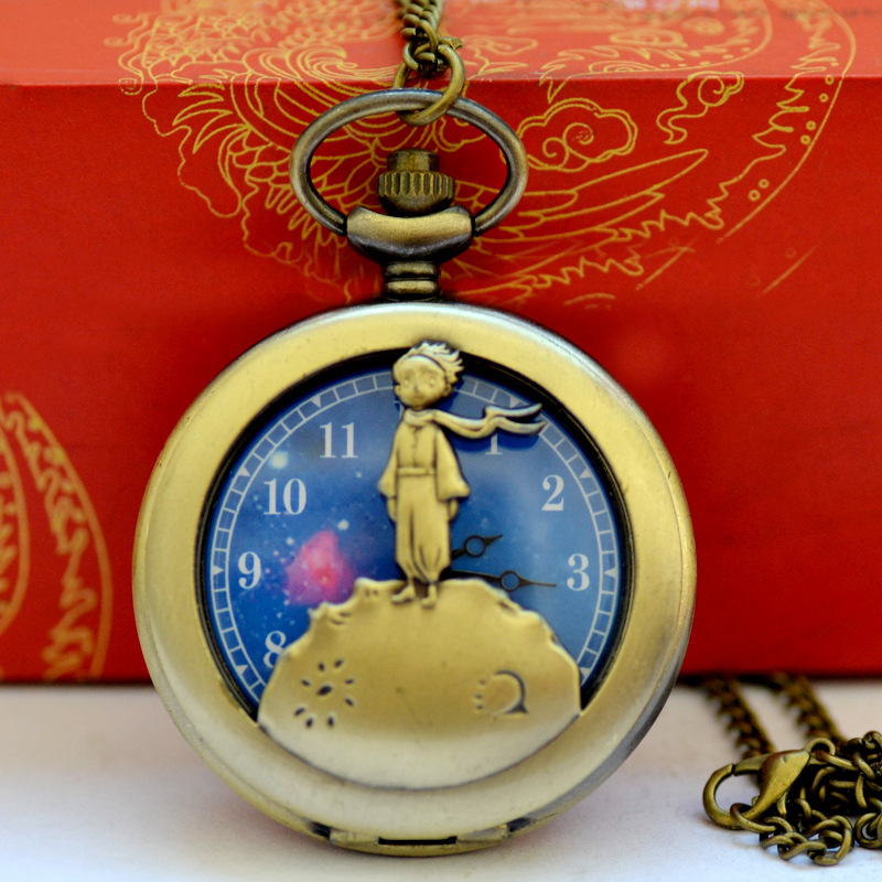 1020The Little Prince Planet Fashion Gift To Kids Little Boy  Blue Bronze Vintage Quartz Pocket FOB Watch Popular Gifts