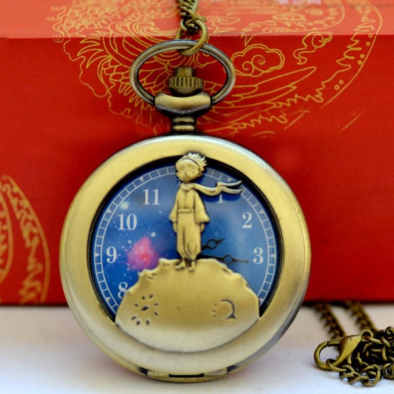1020The Little Prince Planet Fashion Gift To Kids Little Boy  Blue Bronze Vintage Quartz Pocket FOB Watch Popular Gifts