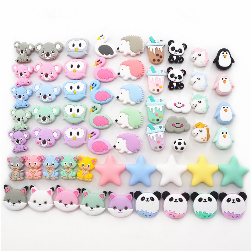 Chenkai 10pcs Silicone Teether Beads DIY Unicorn Star Penguin Flower Koala Flamingo Baby Teething Sensory Jewelry Cartoon Beads