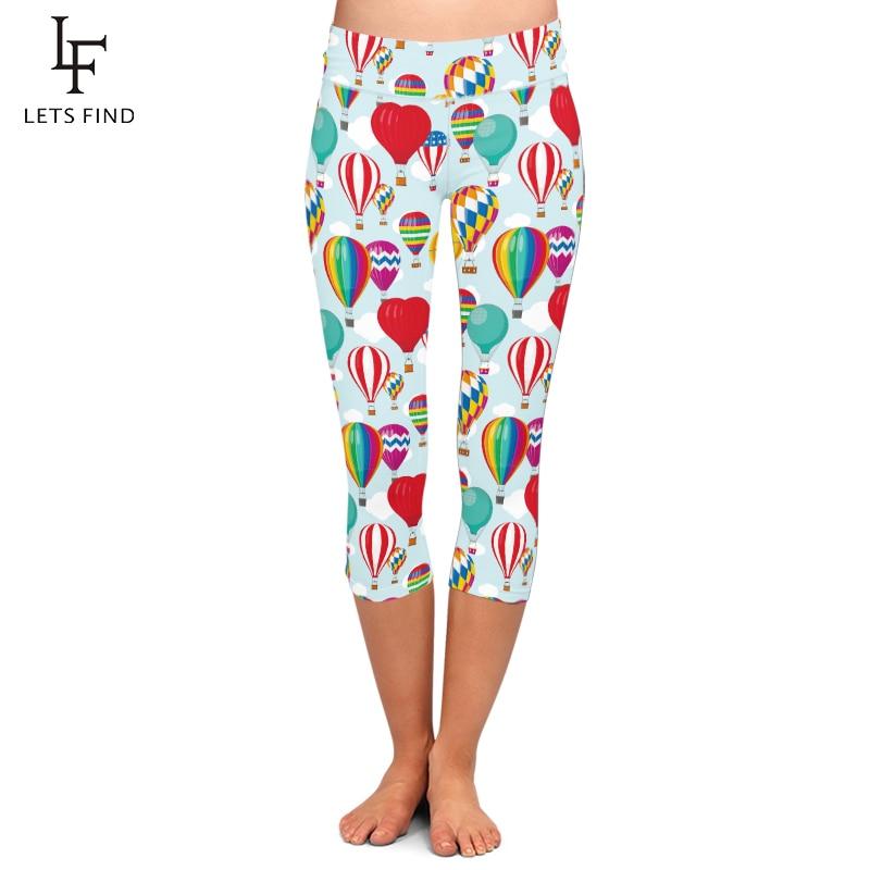 LETSFIND Fashion Hot Air Balloon Printing Women High Waist Mid-Calf Leggings Plus Size Slim Elastic Capri Leggings