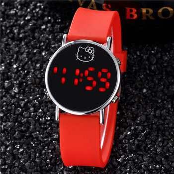цена на 2019 New Red Reloj Kitty Watch for Kids Cartoon Children Ladies Wrist Watches Sports Clock Casual LED Digital Watches