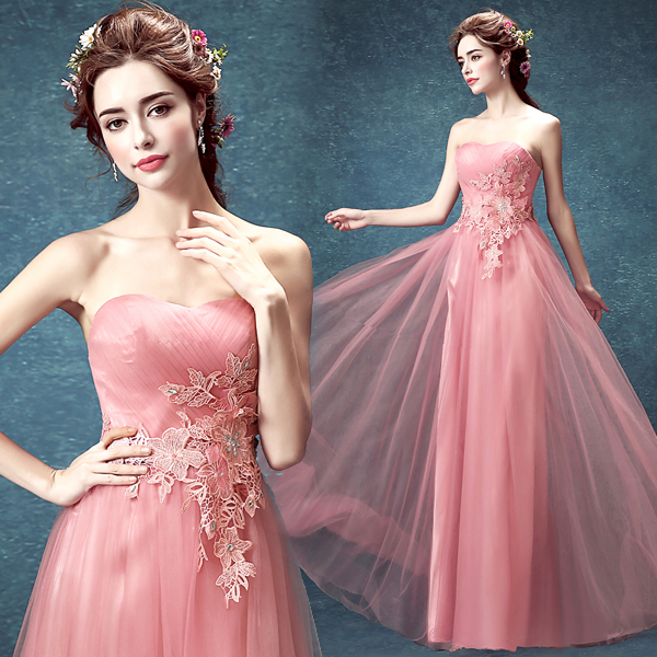 Sexy Sweetheart Appliques 2018 Robe De Soiree Pink Tulle Vestido De Noiva Longo Crystal Long Prom Formal Gown Bridesmaid Dresses