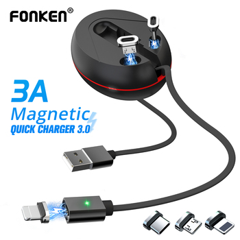 FONKEN USB Type C Magnetic Cable Storage Magnet Micro Usb C Cable Telescopic 3 In 1 Data Wire Fast Charger For IPhone Cables