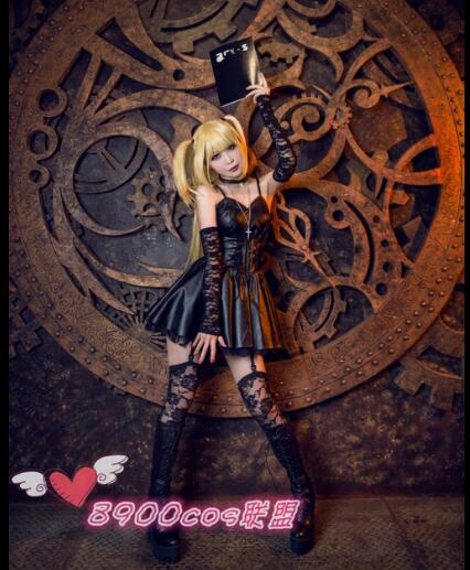 <font><b>Death</b></font> Note Misa Amane Imitation Leather Sexy Tube Tops Lace Dress Uniform Outfit Anime Cosplay Costumes image