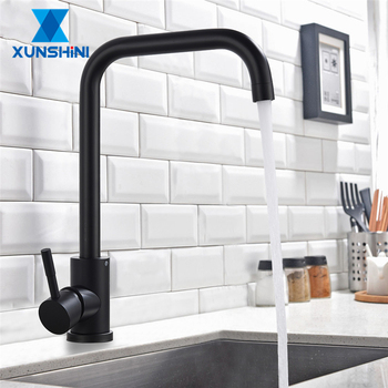 XUNSHINI Free Kitchen Faucet Single Handle Faucet Hot And Cold Mixer Tap For Kitchen Rubber Design  Deck Mounted Crane For Sinks
