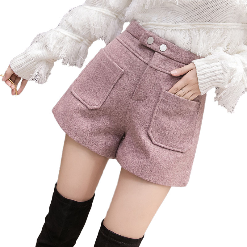 Woolen Shorts Women 2019 Autumn Winter Wide Leg Mini Shorts Feminino Winter Booty Shorts With Pockets Ladies Office Suit Shorts