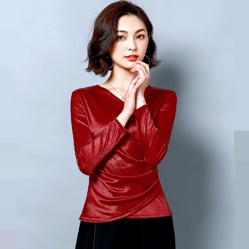 Korean Fashion VELOUR Women Blouses Solid Long Sleeve Women Tops Plus Size XXXL Women Black Shirt Femininas Elegante in Blouses amp Shirts from Women 39 s Clothing