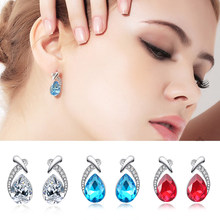 Double Fair Austrian Crystal Waterdrop Shaped Stud Earrings For Women 7 Colors Zircon Gift For Girls Fashion Jewelry KAE087(China)