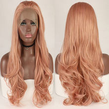 Bombshell Rose Gold Pink Natural Wave Synthetic Lace Front Wig Glueless Heat Resistant Fiber Hair Middle Parting For Women Wigs(China)
