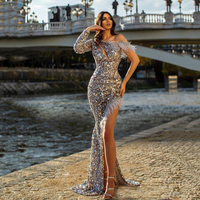 Sexy Mermaid Evening Dresses Long 2020 One Shoulder Long Sleeve Side Split Feather Sequins Tulle Prom Dresses Formal Gown