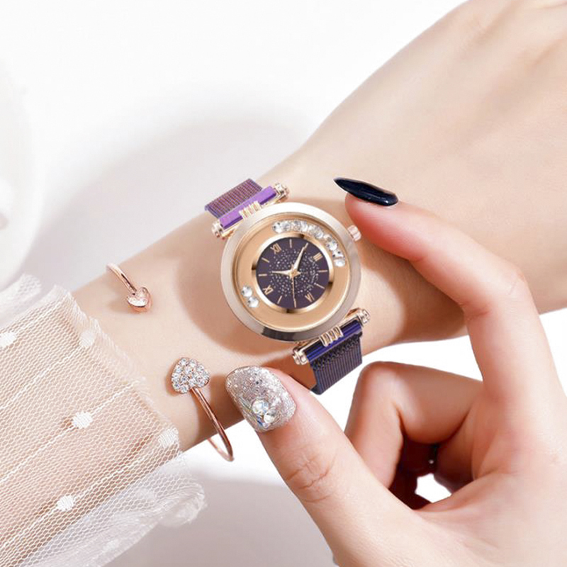 Montre Femme Women Watches Luxury Rhinestone Pearl Ore Glass Dial Magnet Alloy Ladies Watch Roman Clock Quartz Watch Reloj Mujer