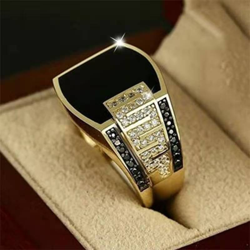 Creative Gold Colors Hip Hop Ring for Men Punk Style Inlaid Zircon Party Punk Motor Biker Rings Fashion Jewelry Gift