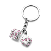 Vicney Fashion Style Las Vegas Pink Rhinestone Dice Keychain For Women Bag Charm Bling Key Pendant Keyring Friend