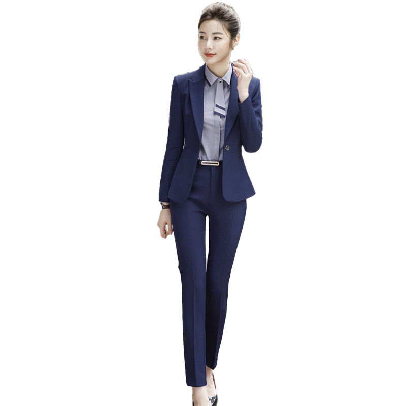 Female Elegant FormalI Style Business Ladies Uniform Pant Suits For Women Suits Office Sets 2 Pieces Trouser Plus Size Work Wear