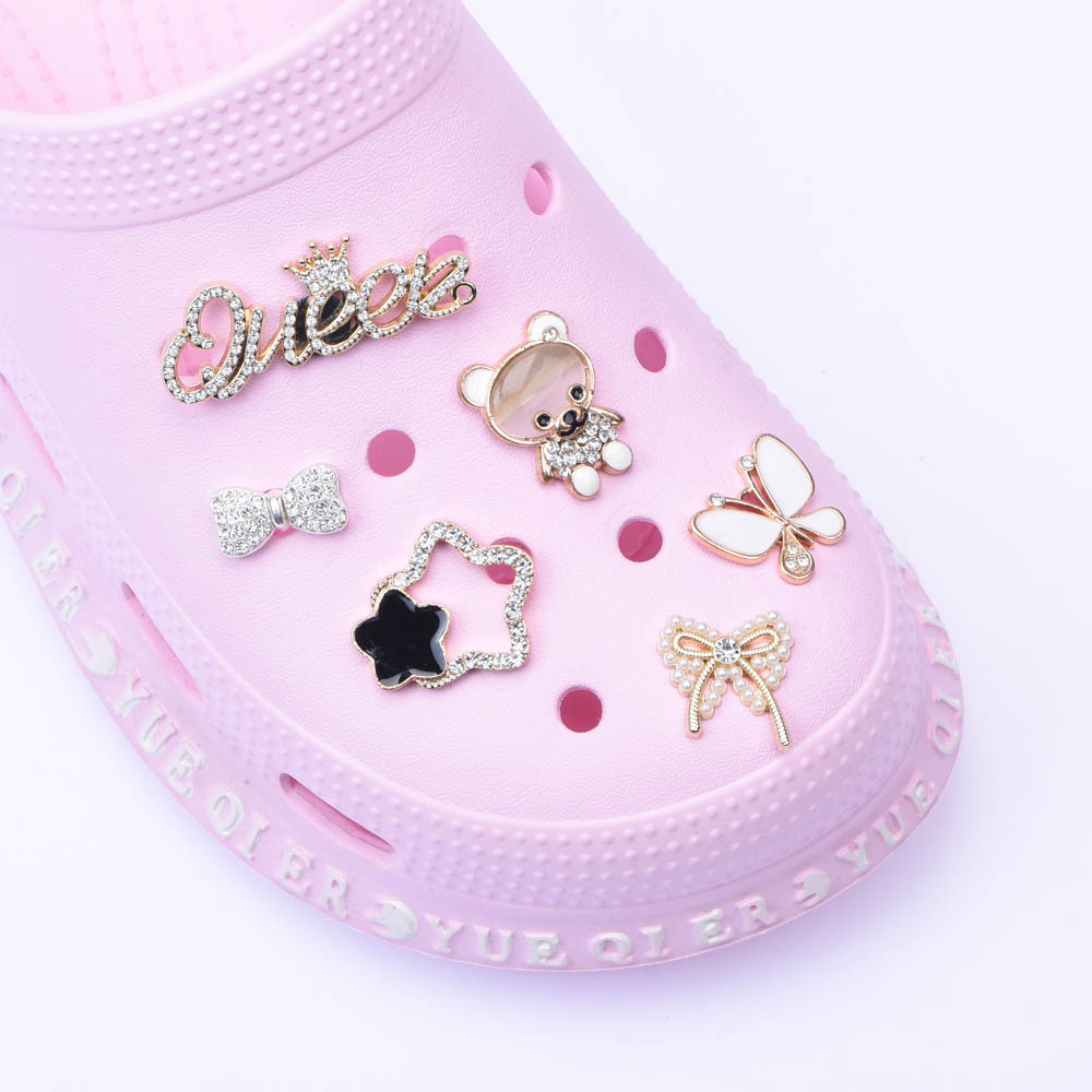 1pcs Designer Metal Shoes Charms Butterfly JIBZ Accessories Clog Button Decoration Lovely Little Bear Charm for Croc Shoes